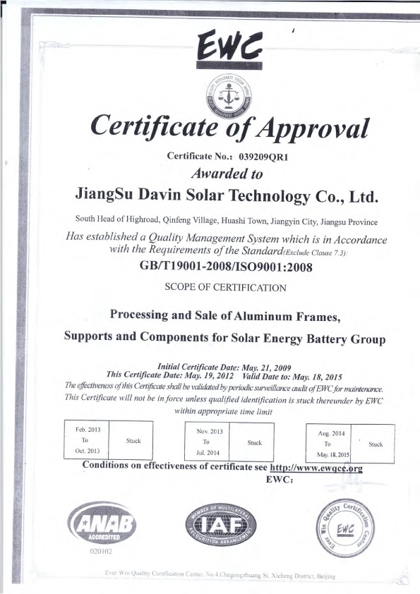 GB/T19001-2008/ISO9001:2008 Certification