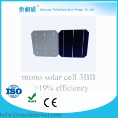 mono solar cell 3BB 156*156mm 18.4%--19.5%