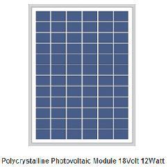 18V 12W polycrystalline PV panel