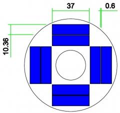 radius 46.5mm round pv cell 0.6