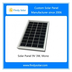 Solar Panel 9V 3W, Mono, with aluminum frame