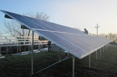 Embedded steel tube type strip based concrete solar photovoltaic support