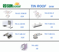 5KW Tin Roof Mounting System