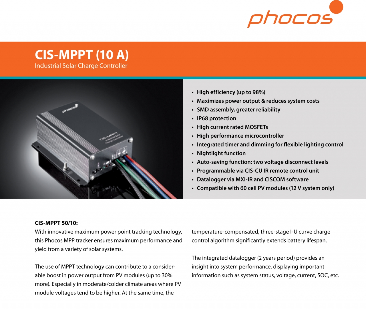 Phocos Ag Solar Components Germany Programmable Maximum Power Point Tracking Controller For Photovoltaic Products Advertising